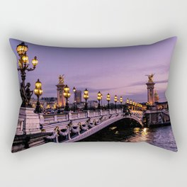 Sunset over Paris Bridge (Color) Rectangular Pillow