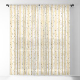 Buttercup Yellow Flower Blossoms on Butter Yellow Streaky Stripes Sheer Curtain