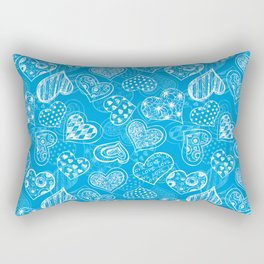 Doodle hearts pattern in blue Rectangular Pillow