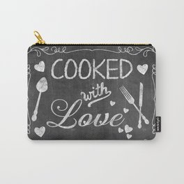 Cooked with Love Retro Chalkboard Sign Carry-All Pouch