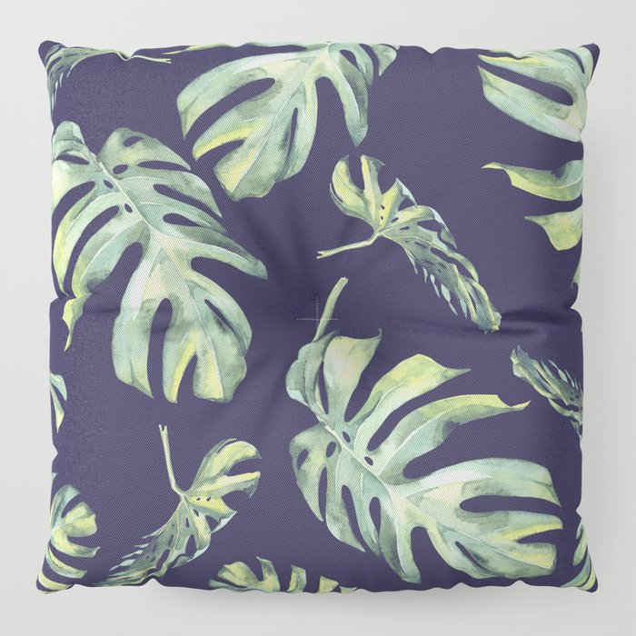 Monstera Pattern Blue #society6 Floor Pillow
