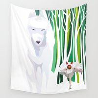 princess mononoke Wall Tapestries featuring Princess Mononoke by youcoucou