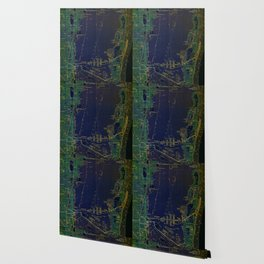 Miami old map year 1950, united states vintage maps. green and blue artwork Wallpaper