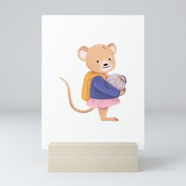 Hello Pre K Mouse - Woodland Animals Cute Back to School Mini Art Print