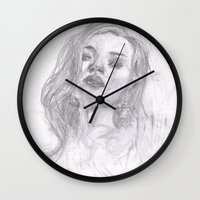 kate moss Wall Clocks featuring Kate Moss Sketch by Hartless
