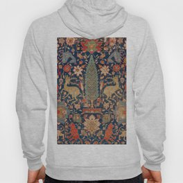17th Century Persian Rug Print with Animals Hoody