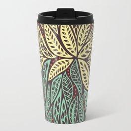 Polynesian Tribal Tattoo Green and Yellow Floral Retro Design Travel Mug
