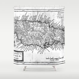 Vintage Map of Jamaica (1771) BW Shower Curtain