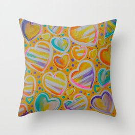Rainbow Hearts Yellow Strips Pink Purple Aqua Turquoise Dots Jackie Carpenter Gift Gifts Throw Pillow