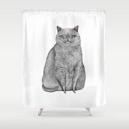 Grey Cat Shower Curtain