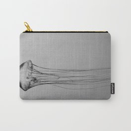 Black and White Jellyfish Art Photography, Drifting Through Time and Space Carry-All Pouch