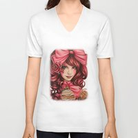 strawberry V-neck T-shirts featuring Strawberry  by Sheena Pike ART