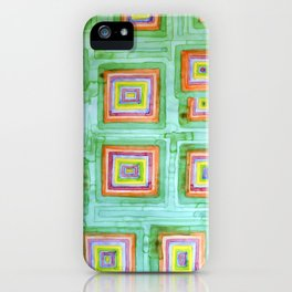 Multicolored Squares on Green Pattern  iPhone Case
