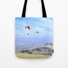 Paragliders in England's Peaks Tote Bag