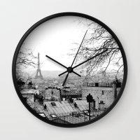 paris Wall Clocks featuring Paris by Studio Laura Campanella