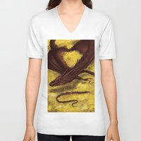 smaug V-neck T-shirts featuring Smaug by toibi