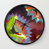 dinosaurs Wall Clocks featuring DINOSAURS by Cody Weber