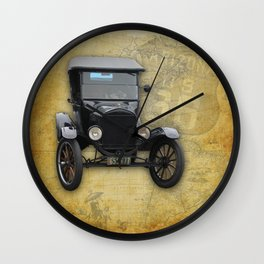 Antique Car on Old Route 66 on and Map Wall Clock