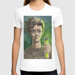 great female scientist testing radiation T-shirt