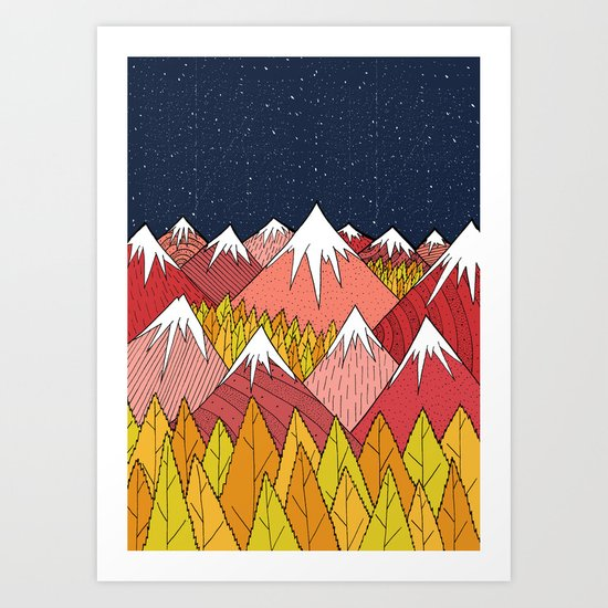 The mountains in the forest Art Print