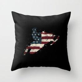 Vintage American Flag Snowmobile Snowmobiling Throw Pillow