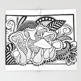 Mushrooms outline black and white drawing Throw Blanket