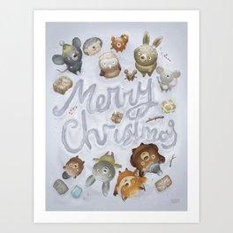 Merry Christmas Animals Art Print