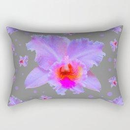 GREY ART TROPICAL LILAC CATTLEYA ORCHID FLOWERS Rectangular Pillow