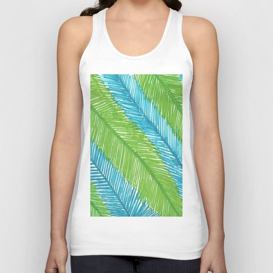Blue and Green Palm Leaves Unisex Tank Top