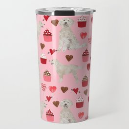 Golden Doodle dog breed valentines day art pattern dog gifts for dog lovers hearts and cupcakes Travel Mug