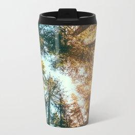 California Redwoods Sun-rays and Sky Metal Travel Mug