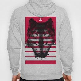 Red wolf white 4 Hoody