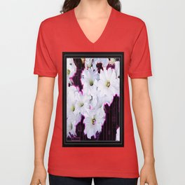 Black Deco Style Abstracted White Petunias Purple Accents Unisex V-Neck