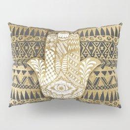 Faux Print Gold Hamsa Hand and Tribal Aztec Pillow Sham
