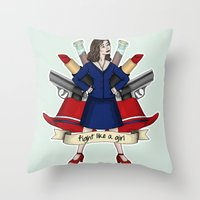 peggy carter Throw Pillows featuring Fight like a Girl - Peggy Carter by HayPaige