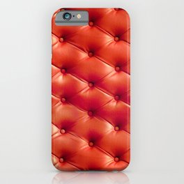 Vintage luxury sofa upholstery buttoned burgundy dark red illustration iPhone Case