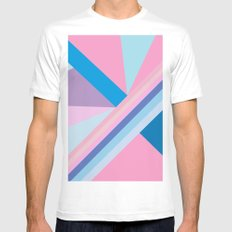 Trendy modern pink blue abstract pattern  White MEDIUM Mens Fitted Tee