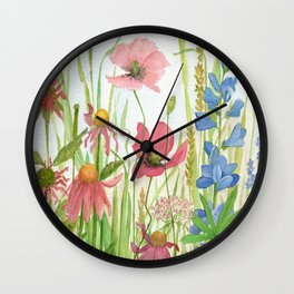 Watercolor Garden Flower Poppies Lupine Coneflower Wildflower Wall Clock