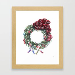 Christmas wreath of happiness Framed Art Print