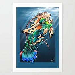 Mantis Shrimp Mermaid Art Print
