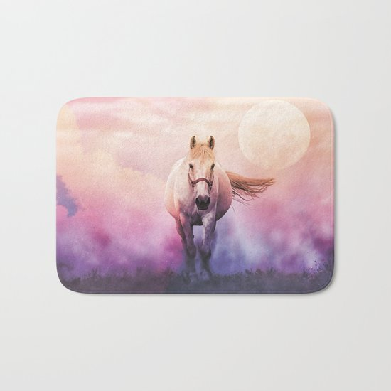 Romantic mystery horse illustration with full moon Bath Mat