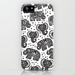 Beautiful pattern Indian Elephant with polka dot ornaments iPhone Case