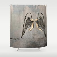 angel wings Shower Curtains featuring Wings by Donna M Condida