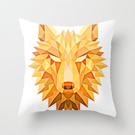 Orange Tribal Fire Geometric Wolf Head Throw Pillow