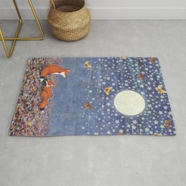 moonlit foxes Rug
