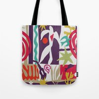 matisse Tote Bags featuring Inspired to Matisse (violet) by Chicca Besso