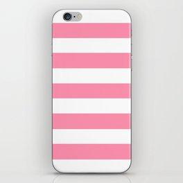 Baker-Miller pink - solid color - white stripes pattern iPhone Skin