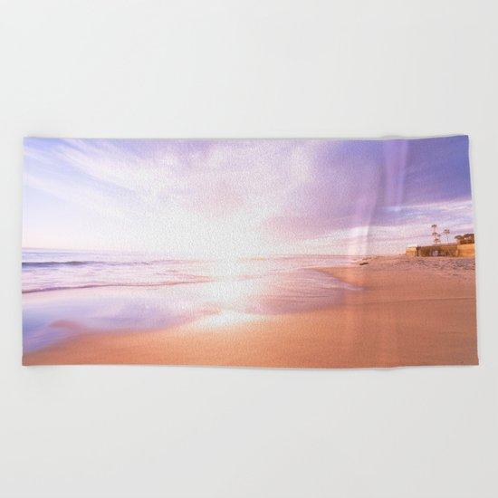Sunset Beach Scene , Summertime, Pastel Sky Beach Towel