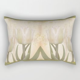 Painterly tulips with golden water splashes, vintage look Rectangular Pillow