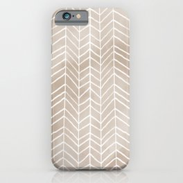 Tan Watercolor Herringbone Pattern (tan/white) iPhone Case